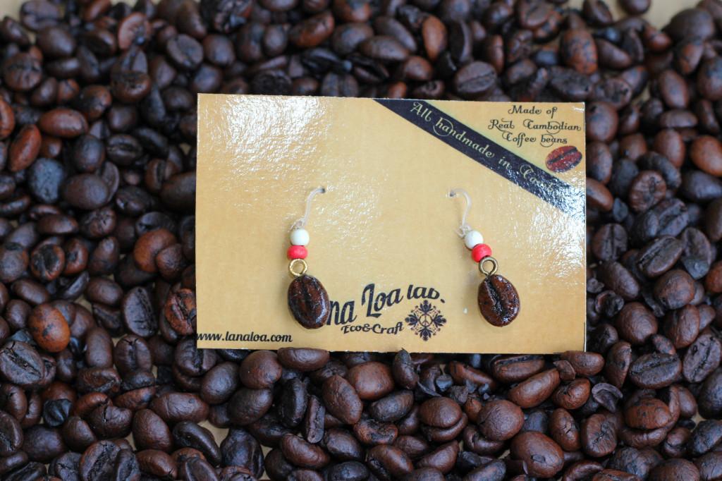 Coffee beans hook earrings
